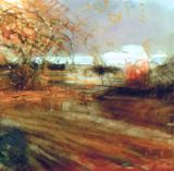 """Autumn Field. Charcoal and oil on mylar, 3.5"""" x 3.5"""", 2012"""